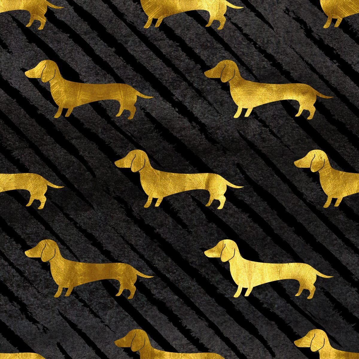 Black and Gold Dachshund Pattern