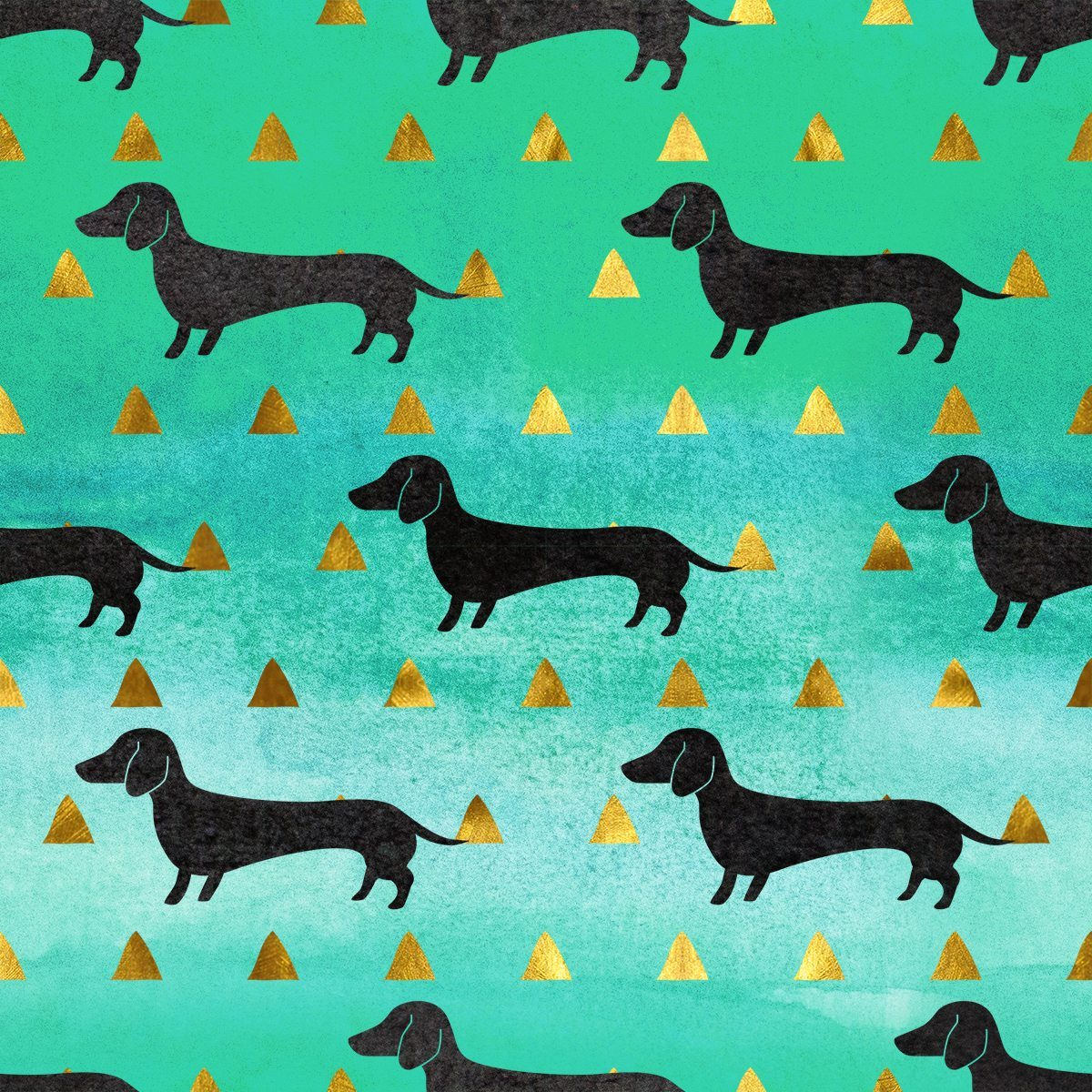 Green and Gold Dachshund Pattern